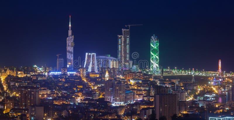 Panorama night city Batumi stock photos