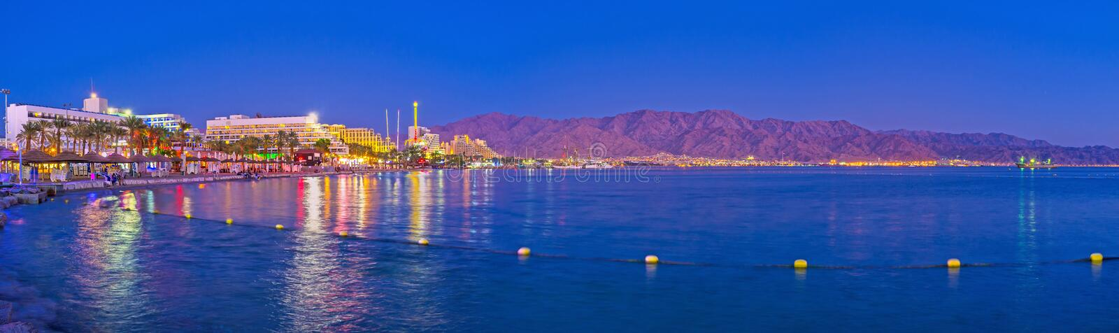Panorama of night Eilat stock photography