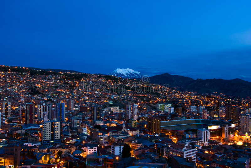 Panorama of night La Paz stock photography