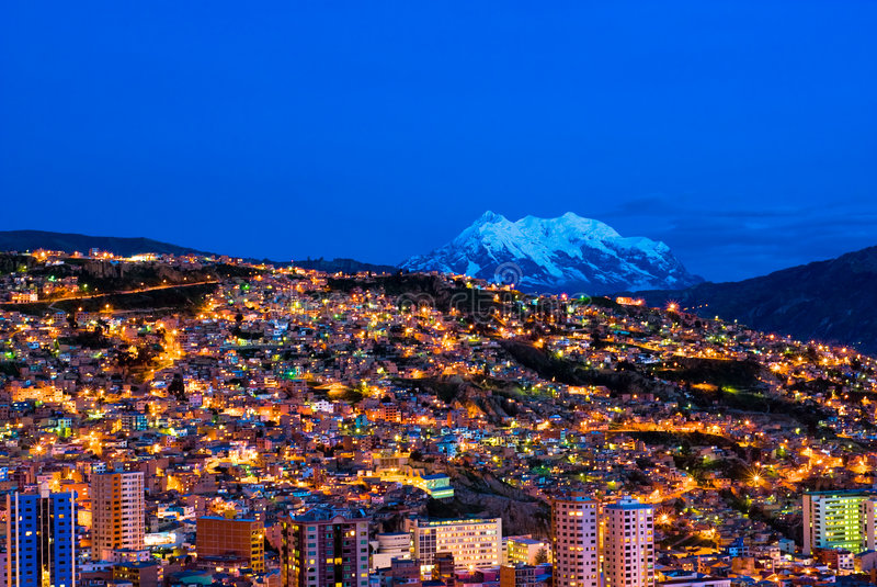 Panorama of night La Paz, Bolivia royalty free stock photography