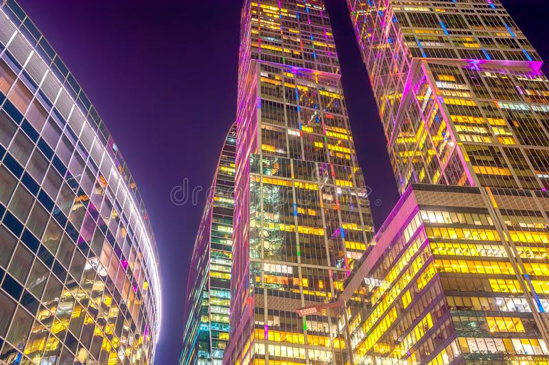 night skyscrapers of the Moscow business center stock photos