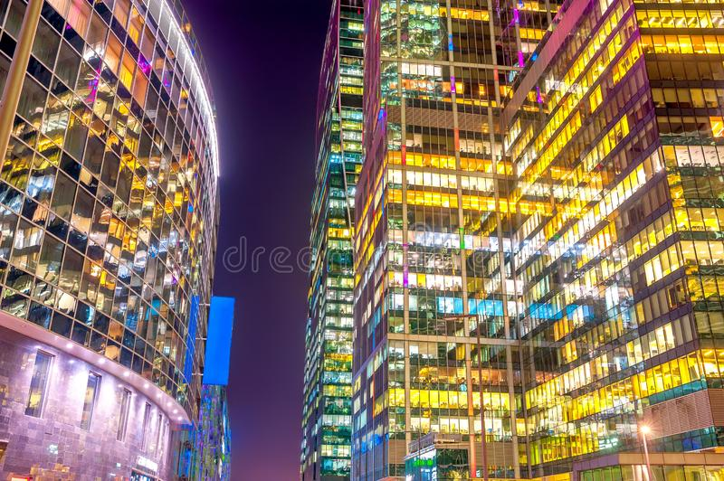 Panorama of the night skyscrapers of the Moscow business center stock image