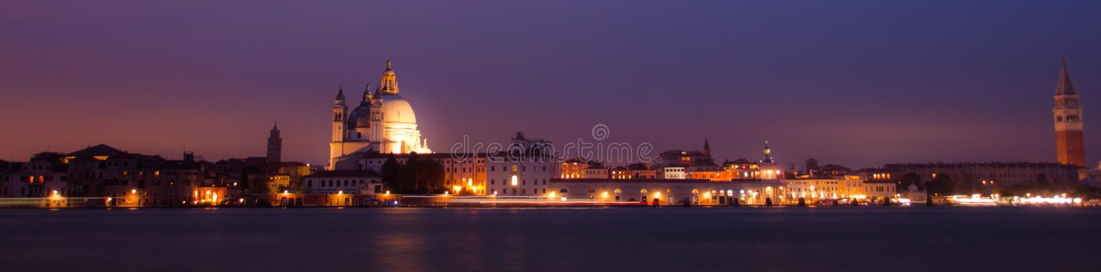 Panorama By Night Of Venice, italian City stock photo