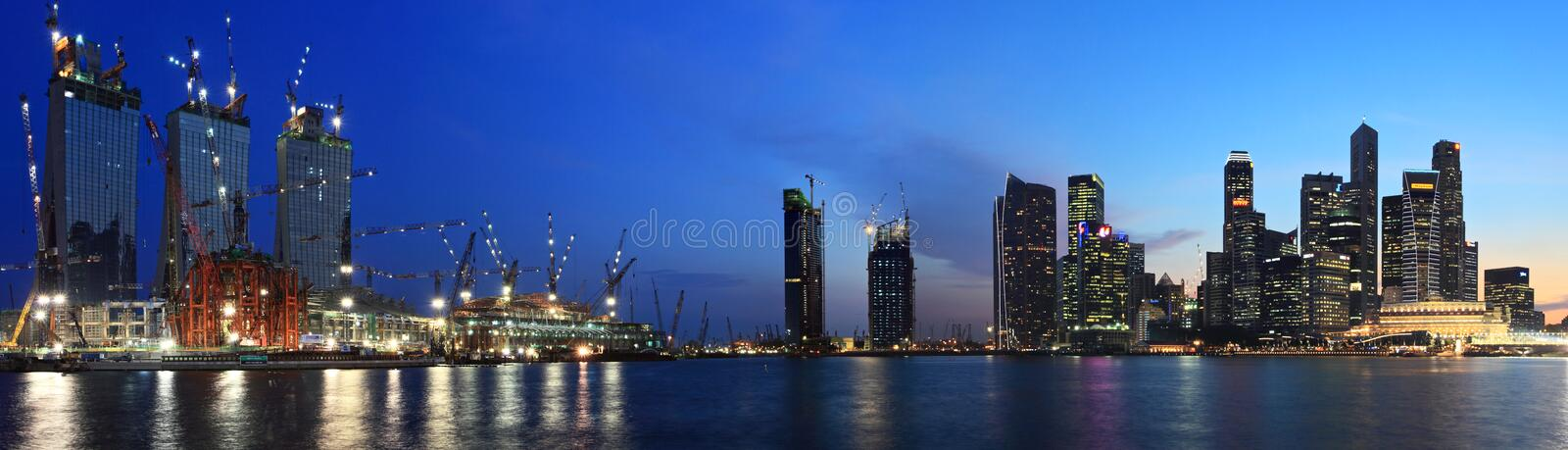 Panorama Of Night View Of Singapore City stock images