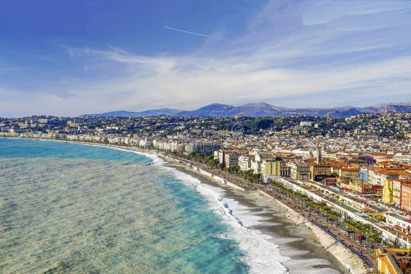 1_Panorama no Golfo de Angels e Boulevard A Marcha Inglesa, Nice, França imagem de stock royalty free