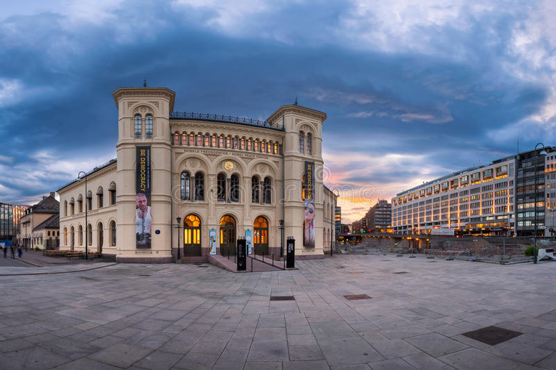 Panorama of Nobel Peace Center in the Evening, Oslo, Norway royalty free stock photos