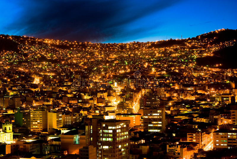 Panorama noc Los Angeles Paz, Boliwia zdjęcia stock