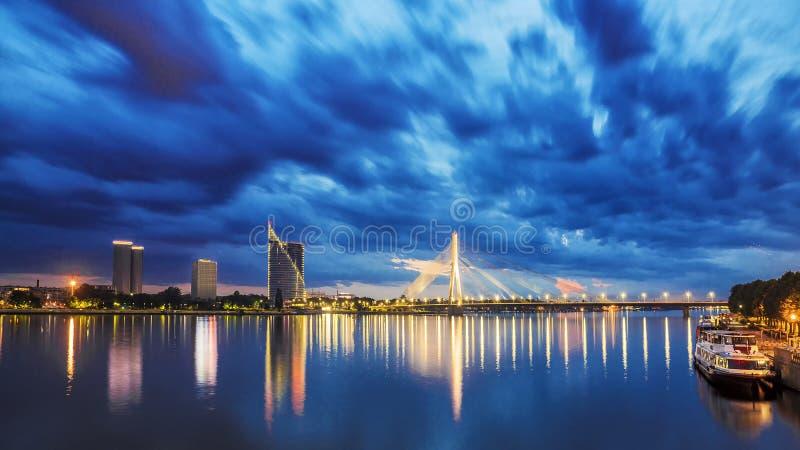 Panorama noc Ryska, Latvia fotografia royalty free