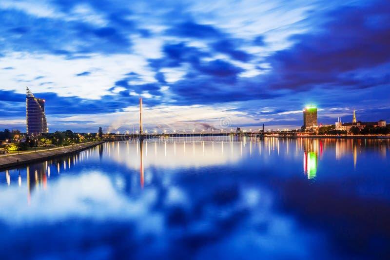 Panorama noc Ryska, Latvia obraz stock