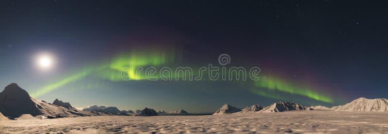 PANORAMA - Nordliga ljus ovanför den arktiska glaciären - Svalbard, Spitsbergen arkivbild