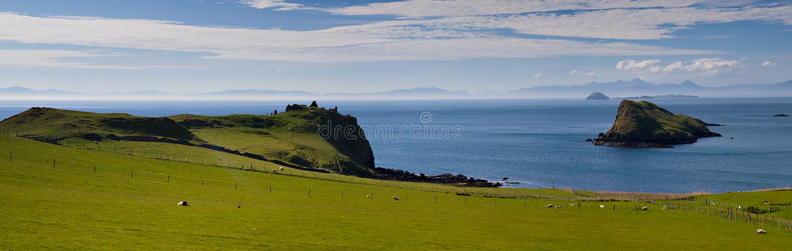 Panorama of the north coast of Skye stock images