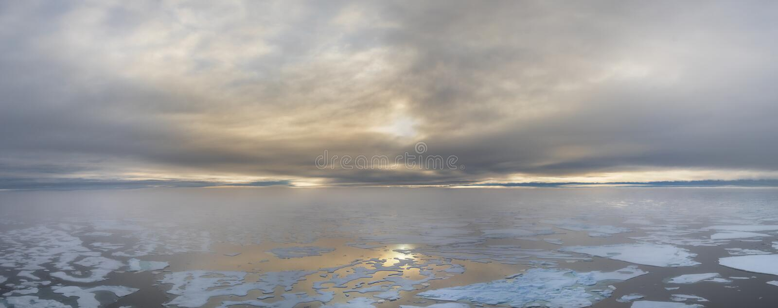 Ice edge at 82 41.01 degrees North from Svalbard at golden hr royalty free stock photography