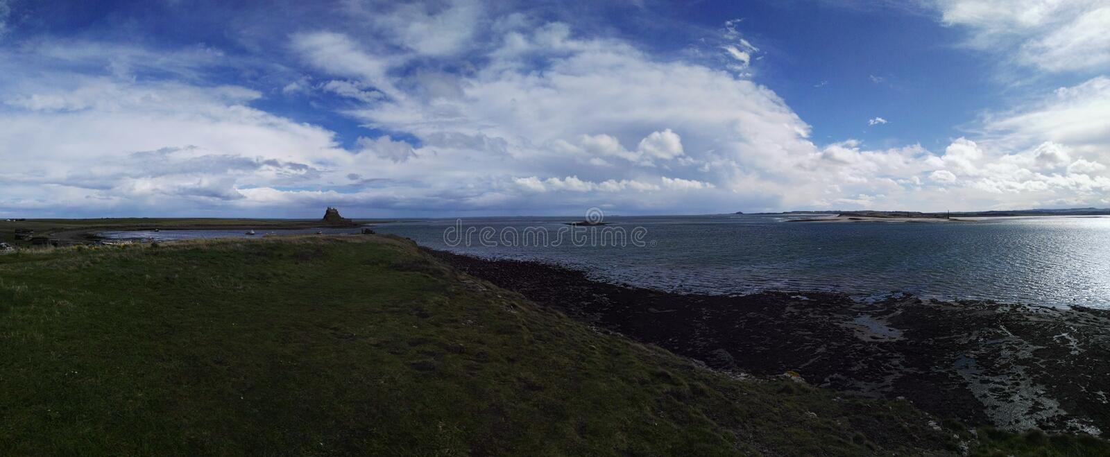 Panorama Northumberland castles in the far stock photo