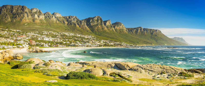 Panorama obóz zatoka w Kapsztad, Południowa Afryka fotografia royalty free