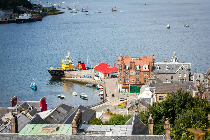 Panorama of Oban, a resort town within the Argyll and Bute council area of Scotland. stock photos