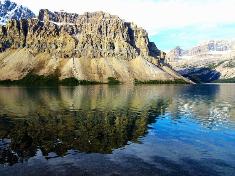 Panorama obrazek Kanadyjski Łęk jezioro w Skalistych górach w Banff parku narodowym w Alberta, Kanada fotografia stock