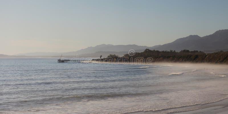 Panorama: Ocean in Carpinteria, California stock photos