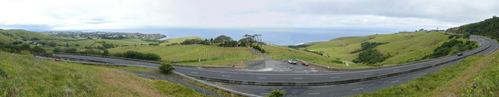 Panorama of ocean with road.