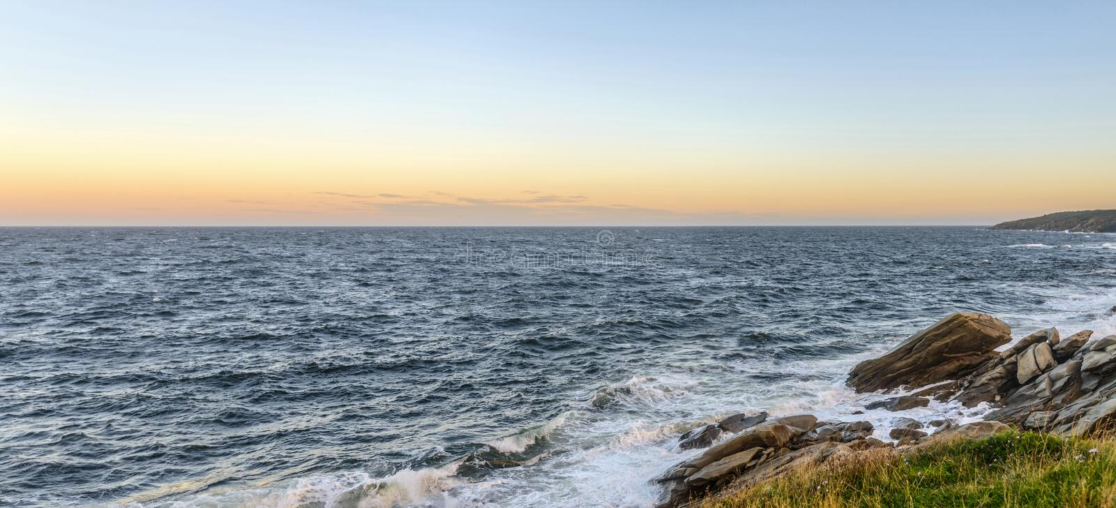Download Panorama Of An Ocean Shore At The Crack Of Dawn Stock Image - Image: 34161519