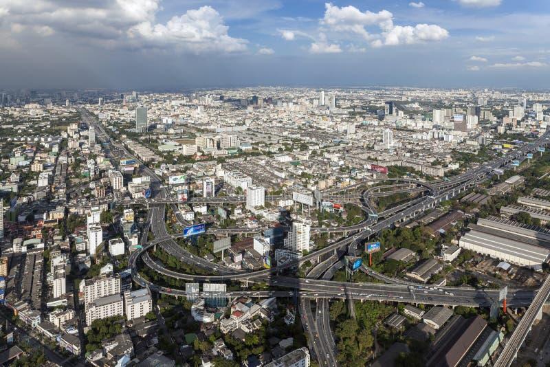Panorama och överblick av Bangkok arkivfoto