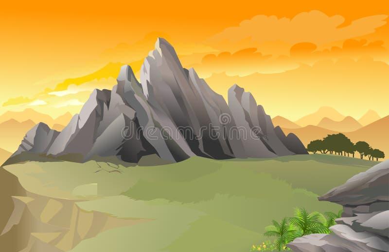 Panorama ocidental magnífico da montanha rochosa ilustração royalty free