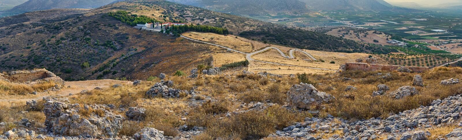 Panorama od Monastery Agion Anargiron above Argos. Monastery Agion Anargiron above city of Argos, taken from the hill where the old Venetian Larissa fortress royalty free stock photo