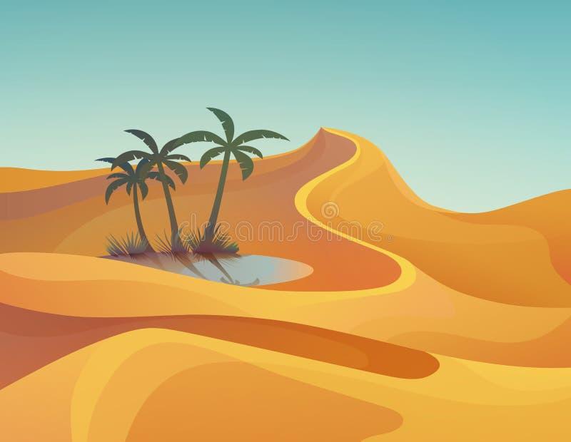 Panorama oder Landschaft der Wüste mit Oase vektor abbildung