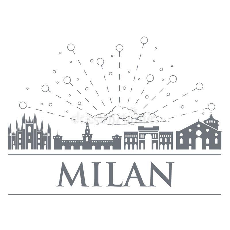 Panorama odznaki, ikony, symbole Włochy Przedmioty są szlachetnym szarości kolorem miasto Milan ilustracja wektor