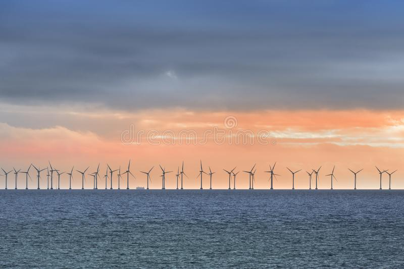 Offshore Wind Turbines near Copenhagen royalty free stock image