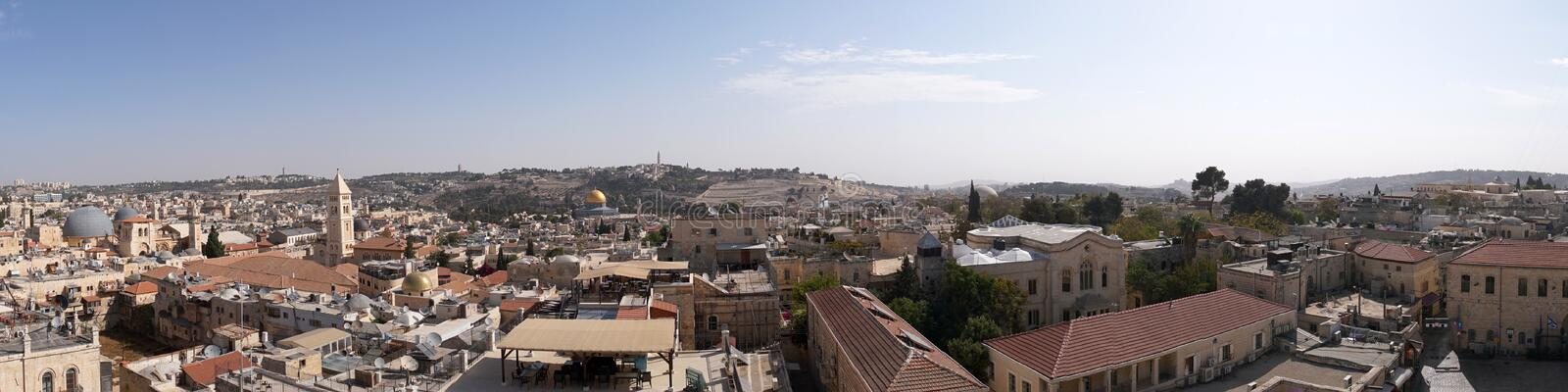 Panorama of old city Jerusalem, Israel from southern side. Top view of the roofs of the old historic district of royalty free stock photography