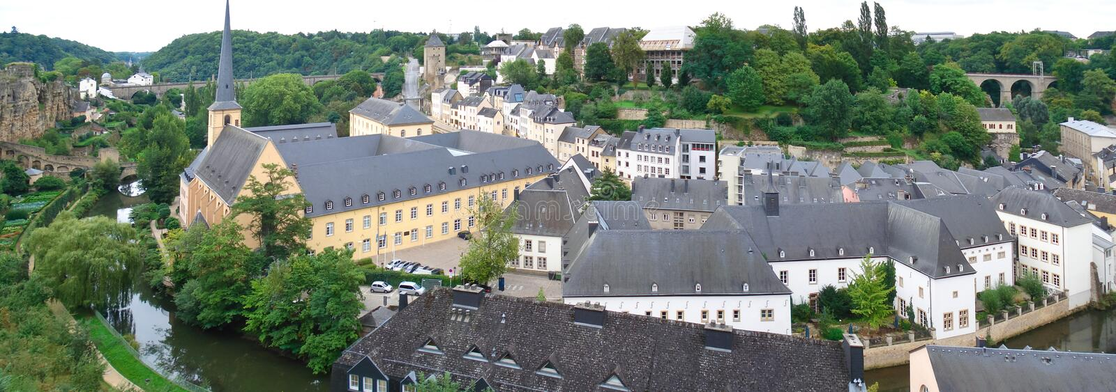 Luxembourg city. Panorama of the old city of Luxembourg, it consists of three tiers, it's a view from the middle tier on the lower royalty free stock photography