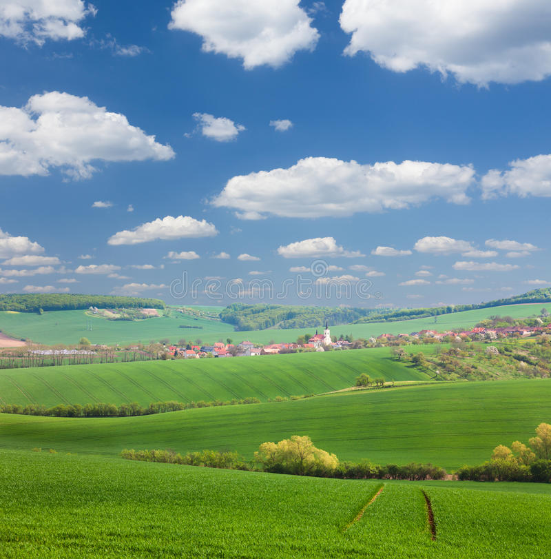Panorama of Old European Town and nature, summer vacation concept royalty free stock photos