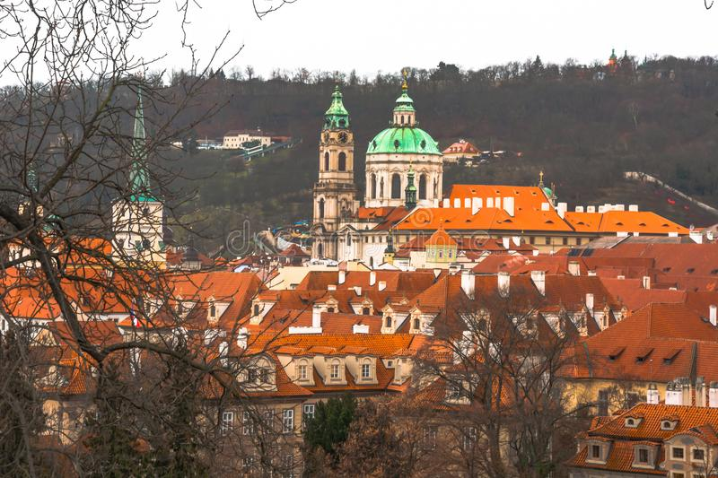 Panorama of the old part of the city of Prague. royalty free stock photography