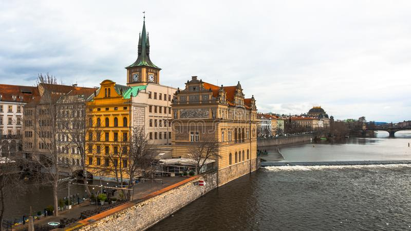 Panorama of the old part of Prague from the embankment of the Vistula River. royalty free stock photography