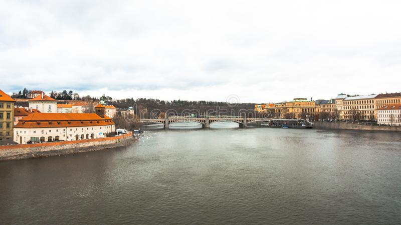 Panorama of the old part of Prague from the embankment of the Vistula River. royalty free stock photo