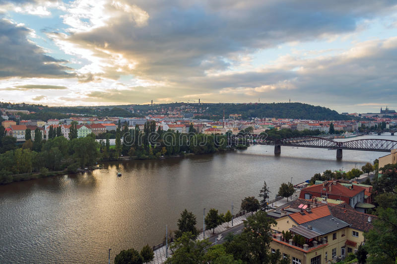 Panorama of the old part of Prague from the Letna park. stock photo