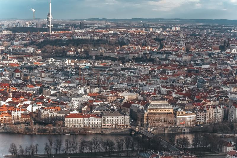 Panorama of the old part of Prague from the Petrin tower. Beautiful view on the bridges over the river Vltava. Old Town royalty free stock image
