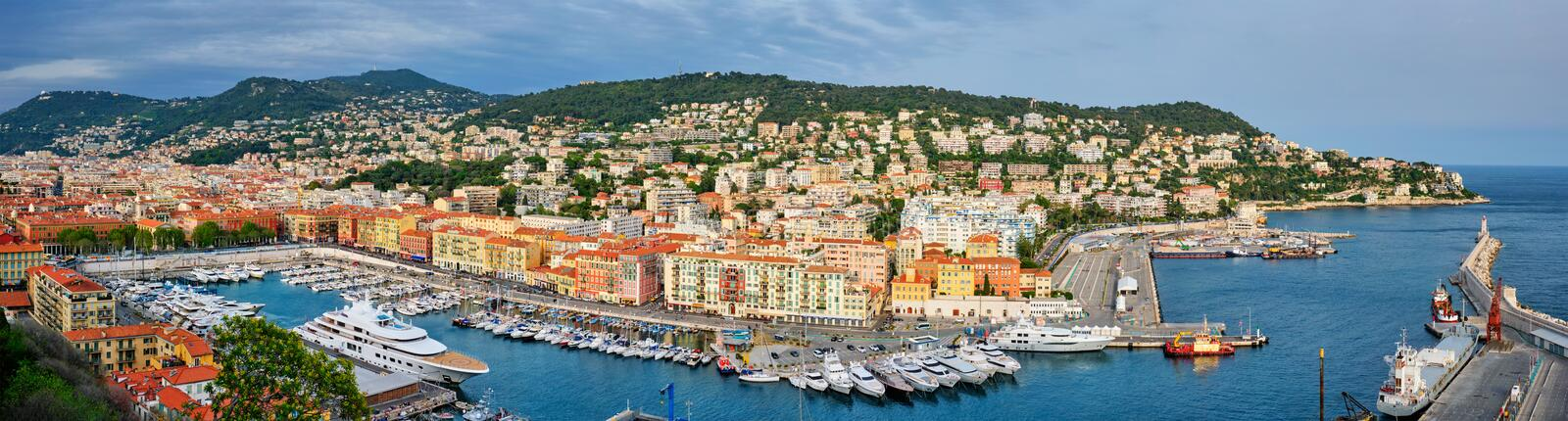 Panorama of Old Port of Nice with yachts, France. Panorama of Old Port of Nice with luxury yacht boats from Castle Hill, France, Villefranche-sur-Mer, Nice, Cote stock images