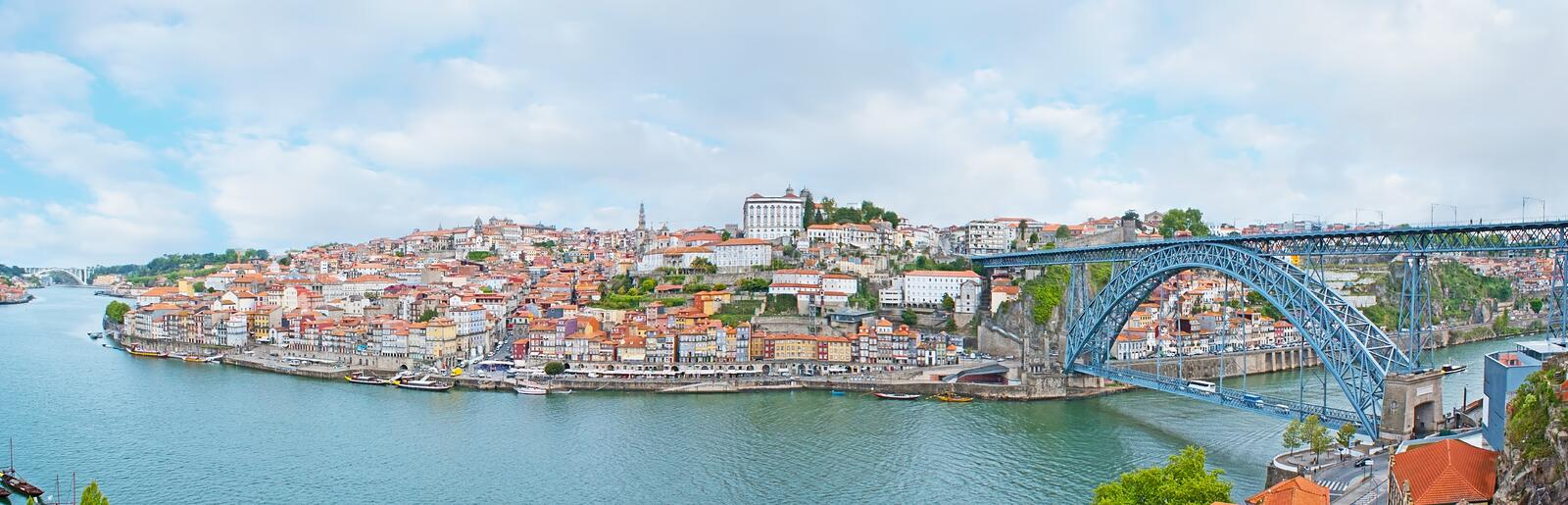 Panorama of old Porto. The cable car in Vila Nova de Gaia overlooks the old town of Porto at the bank od Douro river and the scenic Luis I bridge, Portugal royalty free stock photo