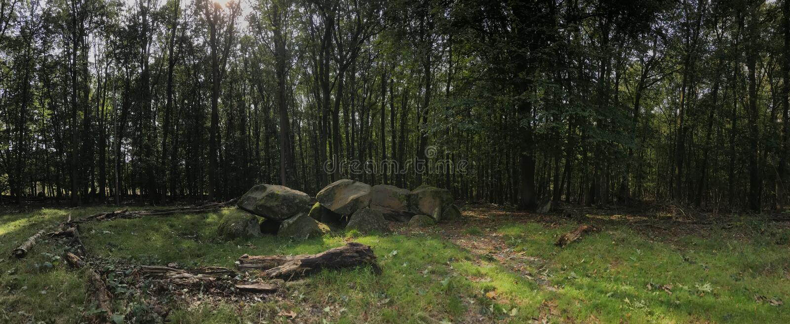 Panorama from an old stone grave dolmen. In Drenthe Netherlands stock photography
