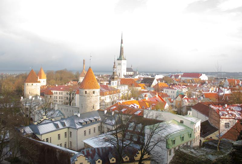 Panorama of old Tallinn. The view from the top. Tallinn. Estonia. royalty free stock images