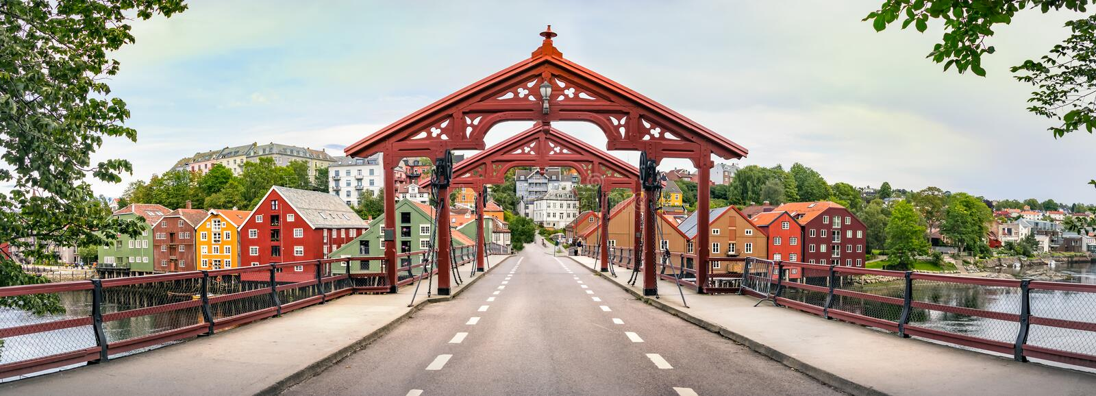 Panorama of the Old Town Bridge or Gamle Bybro of Trondheim, Norway stock images