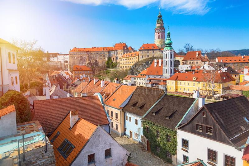 Panorama of the old Town of Cesky Krumlov in South Bohemia, Czech Republic with blue sky. UNESCO World heritage Site and famous pl royalty free stock photos