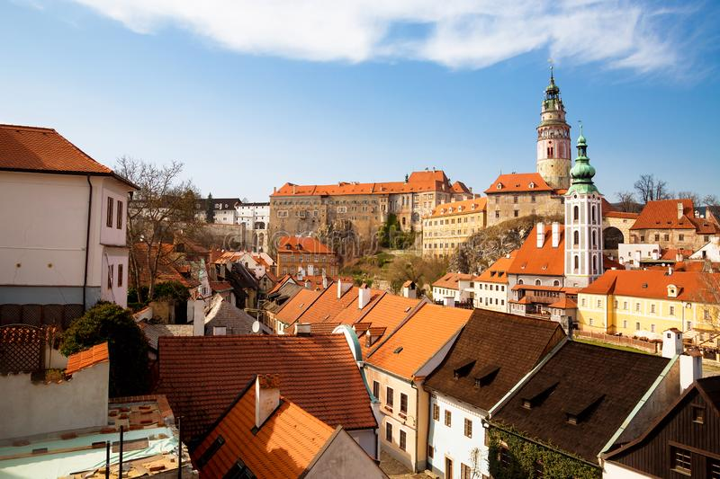 Panorama of the old Town of Cesky Krumlov in South Bohemia, Czech Republic with blue sky. UNESCO World heritage Site and famous. Place for tourism. Beautiful royalty free stock photography