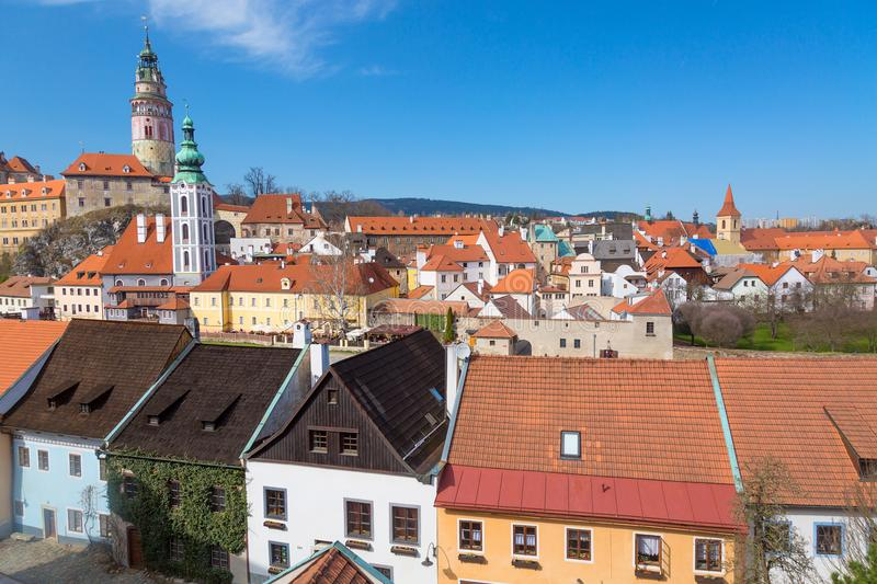 Panorama of the old Town of Cesky Krumlov in South Bohemia, Czech Republic with blue sky. UNESCO World heritage Site and famous pl. Ace for tourism stock photos