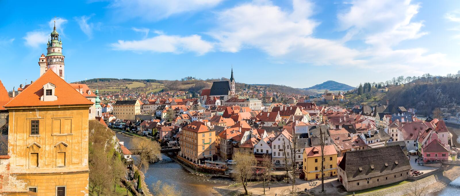 Panorama of the old Town of Cesky Krumlov in South Bohemia, Czech Republic with blue sky. UNESCO World heritage Site and famous pl. Ace for tourism royalty free stock image