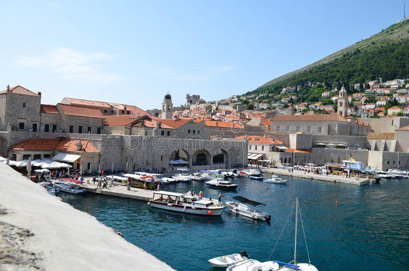 Panorama of the old town of Dubrovnik. The citadel in the old town of Dubrovnik,Croatia and the marina in the sea royalty free stock images