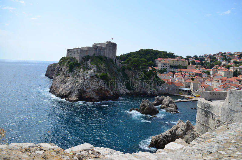 Panorama of the old town of Dubrovnik. The citadel in the old town of Dubrovnik,Croatia and the sea stock image