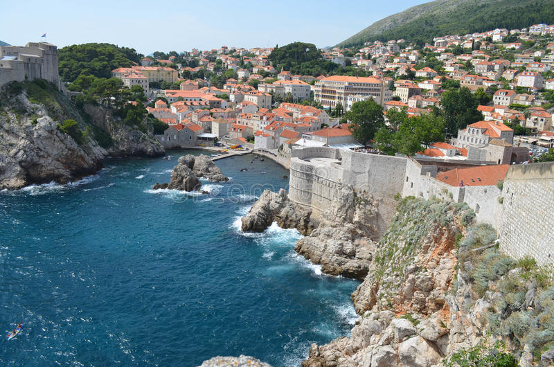 Panorama of the old town of Dubrovnik. The citadel in the old town of Dubrovnik,Croatia and the sea stock photography