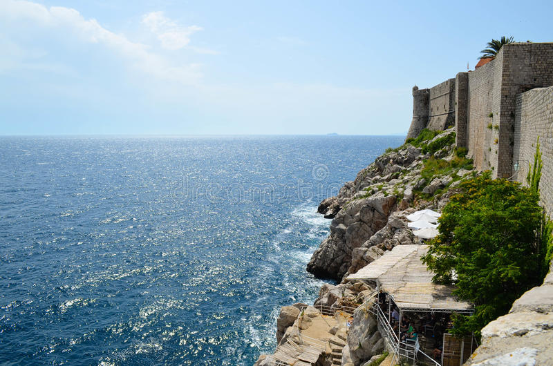 Panorama of the old town of Dubrovnik. The citadel in the old town of Dubrovnik,Croatia and the sea royalty free stock image